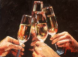 A Toast In Champagne by Fabian Perez - Original Painting on Stretched Canvas sized 12x9 inches. Available from Whitewall Galleries